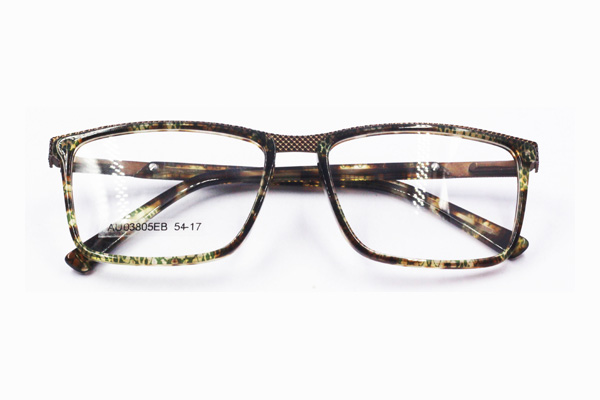 handsome style men's rectangular acetate glasses frame with metal temple