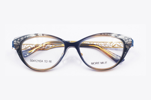 unique combination design women's cat eye acetate glasses frame with metal temple